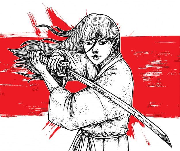 Красивый длинноволосый самурай холдинг катана