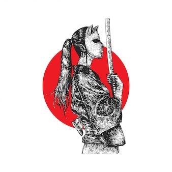 マスクされたサムライガール、手描きのイラスト