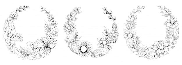 熱帯の丸い花のフレーム、春の花