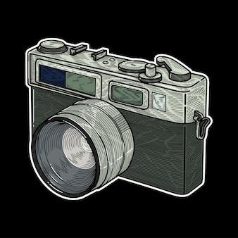 レトロなカメラ、詳細なイラストベクトル