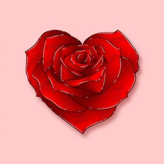ハート型のバラ、色付きの図