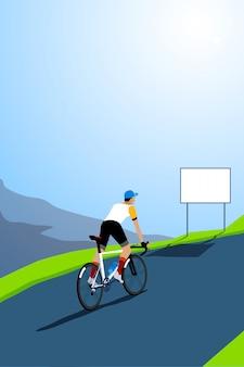 ロードバイクサイクリストクライミング。空のサイン付き。