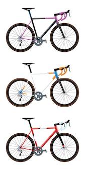 異なる色バージョンのロードバイク