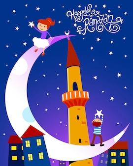 Рамадан карим иллюстрация с детьми. шрифт ручной работы. хосгельдин рамазан