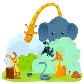 Черепаха и заяц или черепаха и кроличья басня векторная иллюстрация. кролик бросает вызов животным.