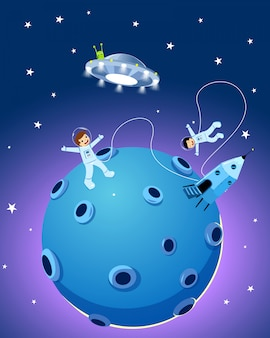 ハッピーかわいい宇宙飛行士の子供たち