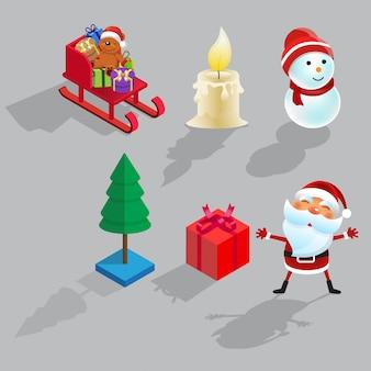 クリスマス等尺性セットフラット漫画デザインベクトルイラスト
