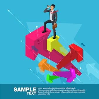 将来のビジネスリーダーのコンセプトファイナンスマネージャービジネスマン。フラット等尺性人エグゼクティブマネージャーベクター投資家のトレーダービジネスの将来ビジョン個々の成功