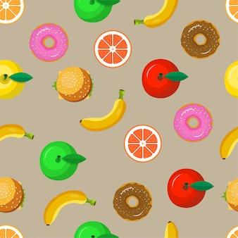 食べ物や果物のシームレスパターン背景