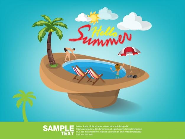 夏のビーチベクトルバナーデザイン。