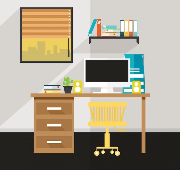 オフィス家の中にはデスクデザインのベクトルがあります
