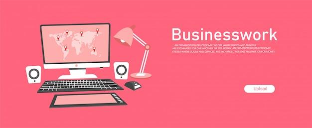 財務報告、ビジネスワークは、ビジネスパーソン、教育向けのデスクトップノートブック画面です