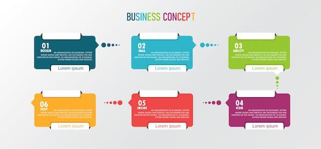 プレゼンテーション、バナー、グラフ、ビジネスおよび教育アプリケーションの形で現代のプロセスのインフォグラフィックデザインイラスト