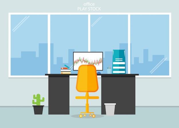 Офис финансовой аналитики диаграммы вектор баннер
