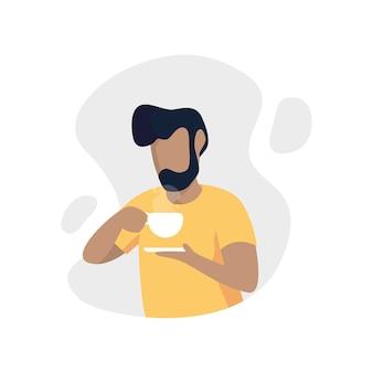 Человек пить кофе абстрактный плоский персонаж
