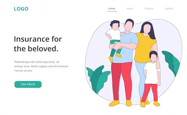 Современный плоский дизайн семейной страховой целевой страницы