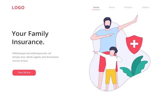 モダンなフラットデザインの家族保険のランディングページのウェブサイト