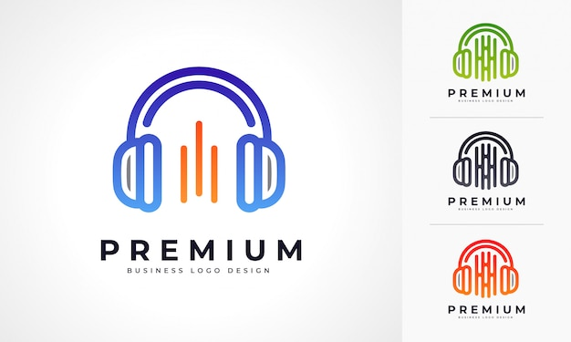 ヘッドフォンの音楽ロゴ