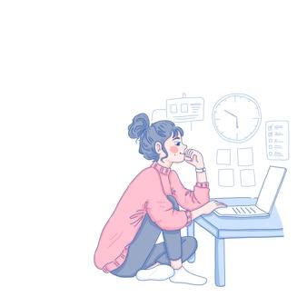 Девушка работает из дома