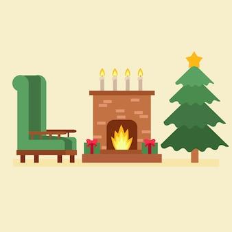 Рождественская иллюстрация интерьера