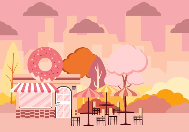 Иллюстрация малоэтажного ландшафтного дизайна города снаружи с магазином пончиков и скамейке на дереве этикетка с вкусными пончиками с глазурью.