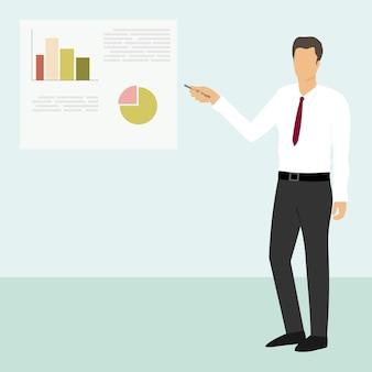 ビジネスの男性はグラフでレポートを表示します
