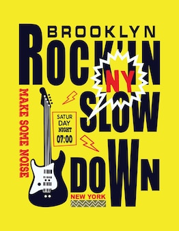 ブルックリンニューヨーク音楽のタイポグラフィーベクトル