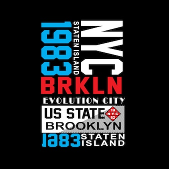 Нью-йорк бруклин известное место типография футболка вектор