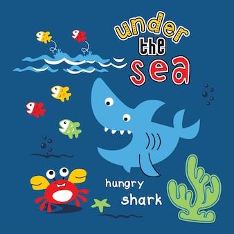 海の漫画ベクトルの下で