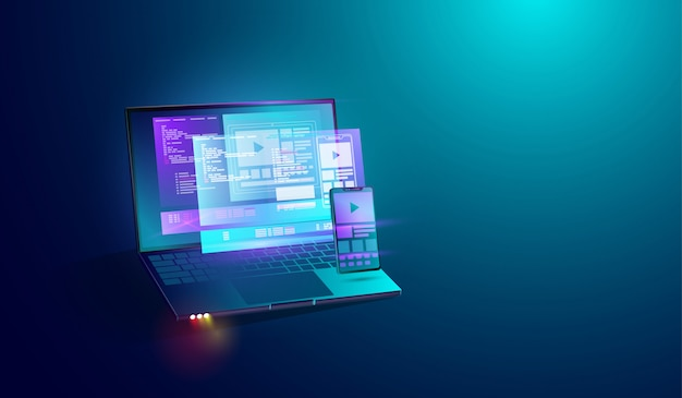 ノートパソコンの画面上のモバイルアプリケーション開発