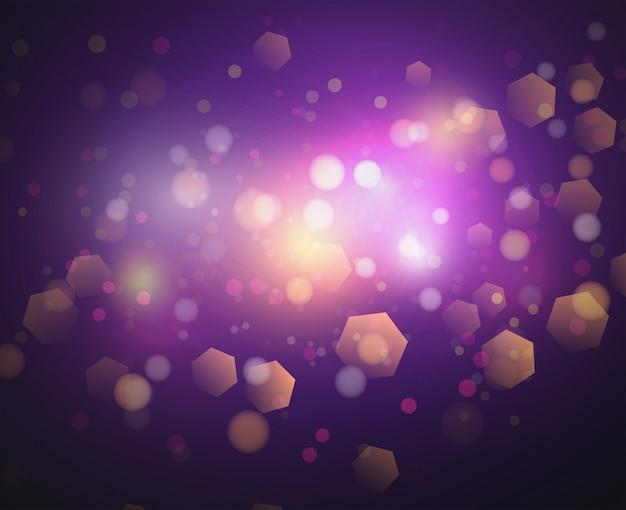 ボケライトとキラキラの背景のベクトル