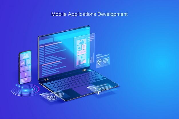Веб-разработка, дизайн приложений, кодирование и программирование на ноутбуке и смартфоне с языком программирования и кодом программы и макетом на векторном экране