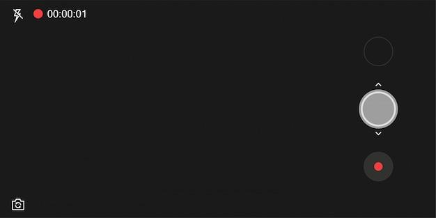 Шаблон экрана приложения мобильной камеры. черный фон