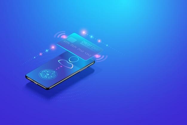モバイルインターネットバンキング等尺性概念。スマートフォンとデジタル支払いによる安全なオンライン支払い取引