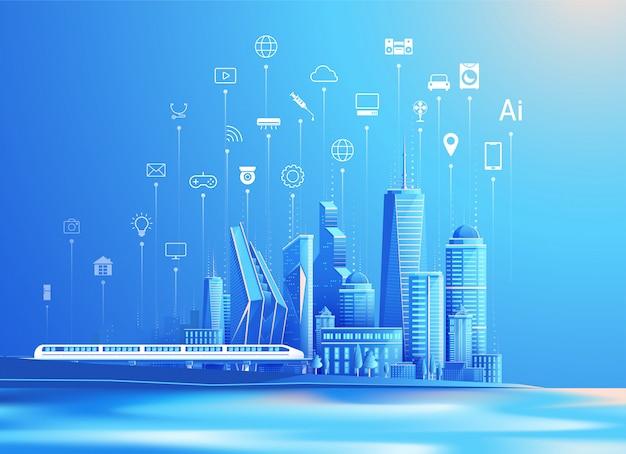Вектор умного города и интернет вещей плоский дизайн концепции