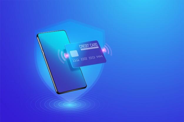 スマートフォンで安全なオンライン決済取引。モバイルのクレジットカードによるインターネットバンキング。保護ショッピングスマートフォンのイラストを介してワイヤレスの支払い。