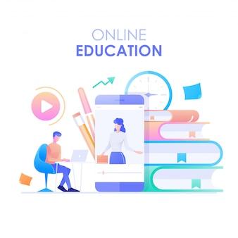 オンライン教育のフラットデザイン。スマートフォンと本を背景にしたオンラインコースで勉強している男性のキャラクターが机に座っています。