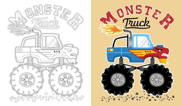 モンスタートラックの漫画のベクトル。ぬりえの本やページ