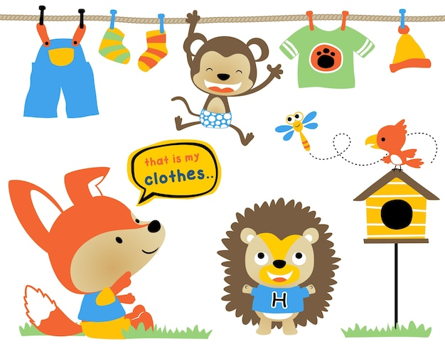Векторный набор смешных животных мультфильм с одеждой