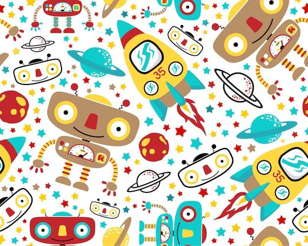 宇宙ロボット漫画とシームレスなパターンベクトル