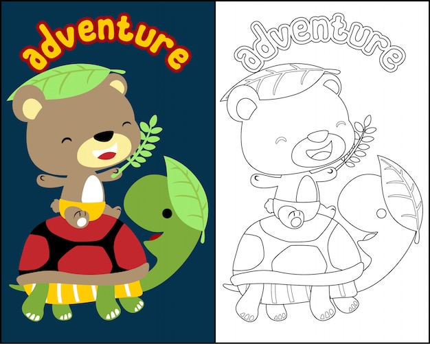 かわいい動物の漫画とぬりえの本のベクトル
