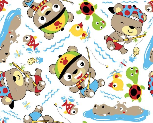 かわいい釣り動物漫画のベクトルシームレスなパターン