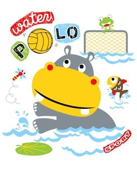 動物の漫画と水のポロのベクトル図