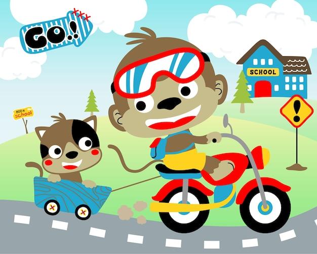 Вектор веселого путешествия с забавными животными на мотоцикле