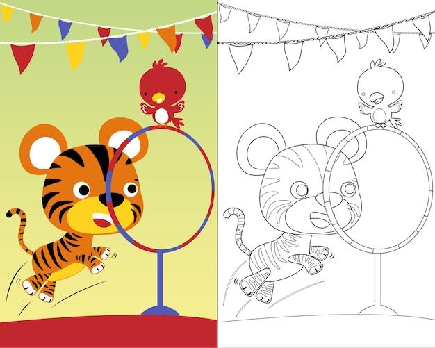 かわいい動物のサーカスショーでぬりえの本のベクトル