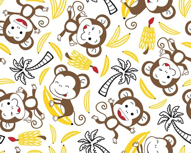 Бесшовные шаблон вектор с смешной обезьяны