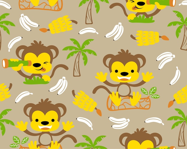 シームレスなパターンベクトルにバナナとニースの猿の漫画