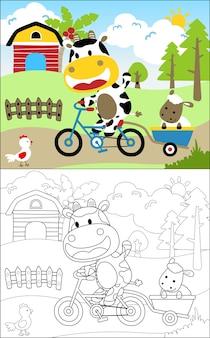 農場での牛と友人
