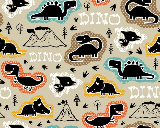 恐竜のシルエットとシームレスなパターン