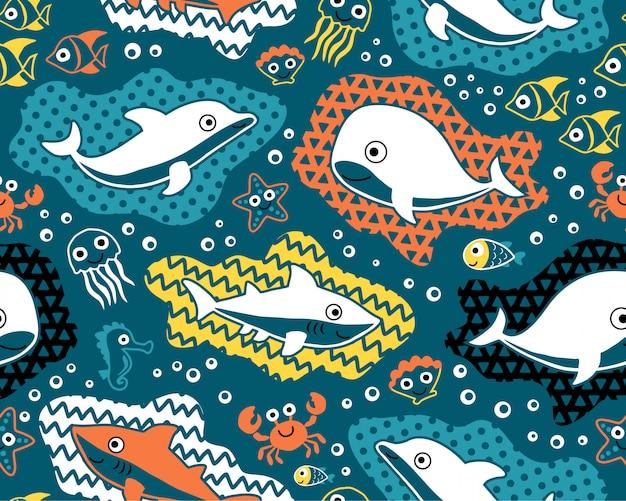 海洋動物漫画のシームレスなパターンベクトル